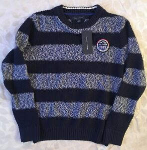 Tommy Hilfiger Boys Youth Sweater, Blue Striped in Color, Size L 12-14