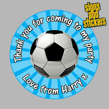 40 Personalised Football Party Stickers Bag Seals Invites foot ball footy. blue