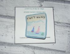 Sailing Boat, Beach Huts Cath Kidston Fabric & Felt Handmade Brooch, Sail Away
