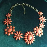 Pink Coral Mod Floral Necklace Beautiful Eyecatching Design Gold Toned Chain