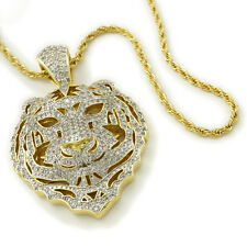 18K Gold Iced Out CZ Tiger Lion Stainless Steel Rope Chain Pendant Necklace