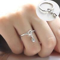 Damen Tröpfchen Ring Kristall Strass Ringe Silber Offener Fingerring Einstellbar