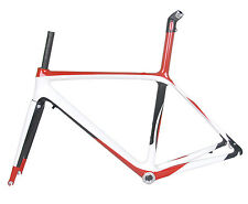 54cm BSA Carbon Road Bike Frame Fork Race Part ISP 700C 3k Red white glossy