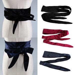 Women Vintage Velvet Wide Belt Waist Elastic Stretch Buckle Bowknot Waistband