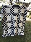 Antique Hand Quilted Navy and Cream Quilt