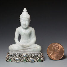 Chinese Jade Pedestal w Blue moonstone and Emerald Stones, Sterling Silver Base