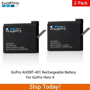 GoPro AHDBT-401 Rechargeable Battery for GoPro Hero 4 Black & Silver - 2 Pack