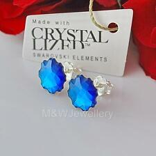 STERLING SILVER * STUDS EARRINGS WITH SWAROVSKI ELEMENTS JELLY FISH BERMUDA BLUE
