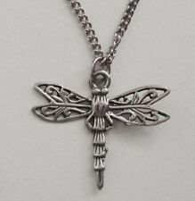 Chain Necklace #269 Pewter Dragonfly with lace wings - dainty (27mm x24mm)