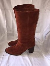 Coach Women's size US 7 B Coty Rust Suede Mid-Calf Hi-Heel Boots Made/Italy VGUC
