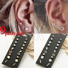 9/5pcs New Small Gold/Silver/Black Star Moon Lovely Heart Shape Stud Earrings UK