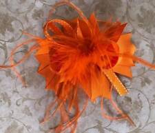 """Orange and White Feather Hair Bow 5"""""""