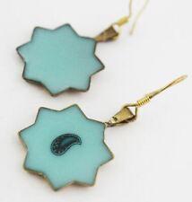 Modern Eslimi Shape Blue Glass Golden Brass Earring