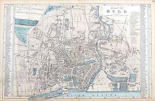 KINGSTON on HULL, 1883 - Original Antique Map / City Plan, Bacon.