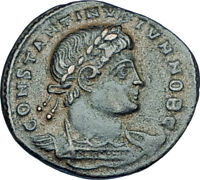 CONSTANTINE II Jr Genuine 330AD Authentic Ancient Roman Coin w SOLDIERS i65949