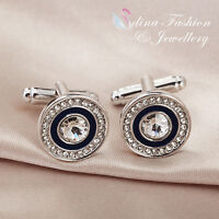 18K White Gold Plated Made With Swarovski Element Round Shaped Men`s Cufflinks