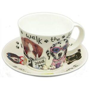 DOG WALK  BREAKFAST CUP SAUCER, fine bone china, Made In England by ROY KIRKHAM