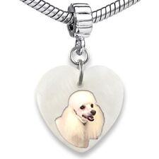 Poodle Dog Heart Dangle Mother Of Pearl European Bracelet Charm Bead EBS291