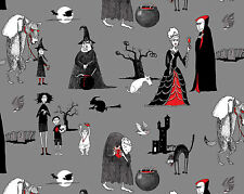 Fat Quarter Oddities Halloween Spooky Cotton Quilting Fabric Elizabeth's Studio