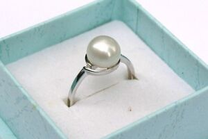 52 (16,5 mm Ø) Damen-Ring Süßwasser Perlen Schmuck ohne Zirkonia 925 Silber xcvb