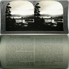 Keystone Stereoview of Oslo Harbor at Night in NORWAY From the 600/1200 Card Set