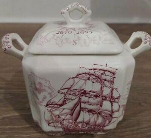 Vintage Masons Ironstone Cutty Sark 1870-1895 Tea Caddy Ship Design Red