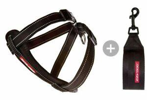 EZYDOG CHEST PLATE DOG HARNESS + Car Restraint Seat Belt Attachment  (BLACK)