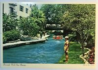 San Antonio Texas Riverwalk Downtown Vintage Postcard Dexter Press Riverboat Tx