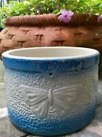 VTG SALT GLAZED BLUE BUTTERFLY STONEWARE BUTTER CROCK