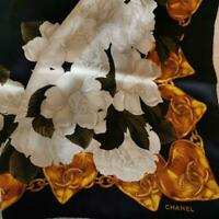 Authentic Chanel Camellia Pattern Silk Scarf Free Shipping No.1075