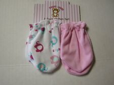 Scratch Mittens, Girl, 2 Pack, Pink & Elephan Print By Honey Baby, 0-6 Mos., New