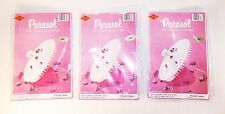 3 Vintage 1970's Beistle WHITE Tissue Paper Parasol Umbrella Shower Decorations