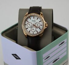 NEW AUTHENTIC FOSSIL JANICE ROSE GOLD BROWN LEATHER WOMEN'S BQ3383 BQX3383 WATCH