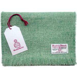 Harris Tweed Pistachio Green Pure Wool Luxury Unisex Fringed Scarf