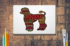 More details for poodle dog print giclee word art a4 a3 / box canvas a3 a2 a1 size gift lamb cut