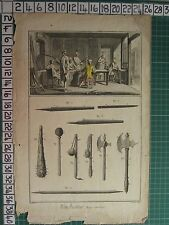 c1750 ANTIQUE PRINT ~ ANCIENT WEAPONS VARIOUS