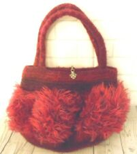 Felted Hand Made Raspberry Faux Fur Small Hand Bag Purse Silvertone clasp
