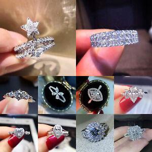 Elegant Women's 925 Silver Cubic Zirconia Rings Wedding Jewelry Gift Size 6-10
