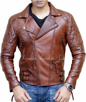 Mens Biker Motorcycle Vintage Antique Distress Brown Winter Real Leather Jacket