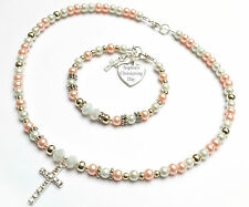 Engraved Charm Necklace set Christening First Holy Communion Baptism 12 Colours