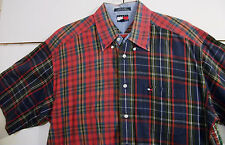 NICE Tommy Hilfiger Casual Dress Button Shirt Size XL Plaid Checks Multi-Color