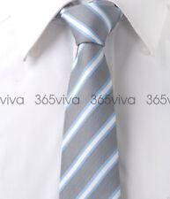 Gray White Sky Blue Stripe Skinny Slim Narrow Woven Silk 6.5 cm Wedding Tie