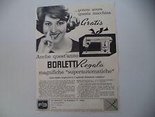 advertising Pubblicità 1960 MACCHINA PER CUCIRE BORLETTI SUPERAUTOMATICA
