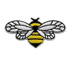 """FLYING BEE IRON ON PATCH 3.5"""" Yellow Black Bumblebee Insect Embroidered Applique"""