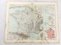 1898 French Map of France Political Administrative Regions 19th Century Antique