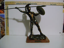 """12"""" VINTAGE Leonidas Of Sparta Bronze Statue with SPEAR AND SHEILD / MARBLE BASE"""