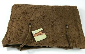 "NWT BOWSERS PET PRODUCTS Dog Crate Cover Pecan Filigree Fabric Large 24""x36""25"""