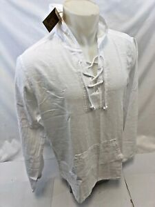 Mens LACE UP 2 POCKET HOODY BLANCO By ENVY WHITE SHIRT BEACH TOP 100% Cotton NWT