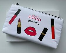 CHANEL COSMETIC/MAKEUP BAG POUCH CLUTCH white rouge coco RARE VIP GIFT