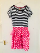 Blue White & Pink Next Striped & Spotty Short Sleeve Dress Age 14 Years (2791)